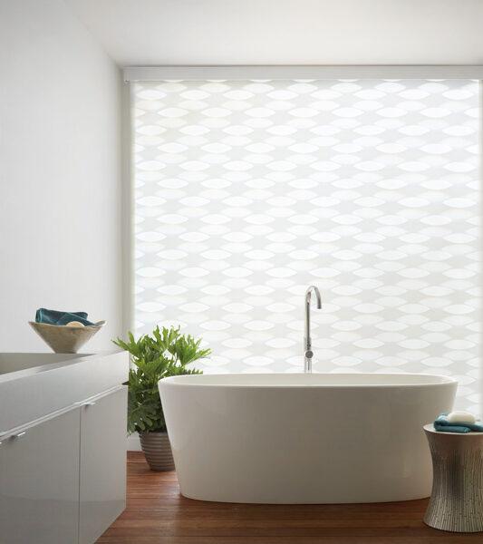 white bathroom designer banded shades Reno NV