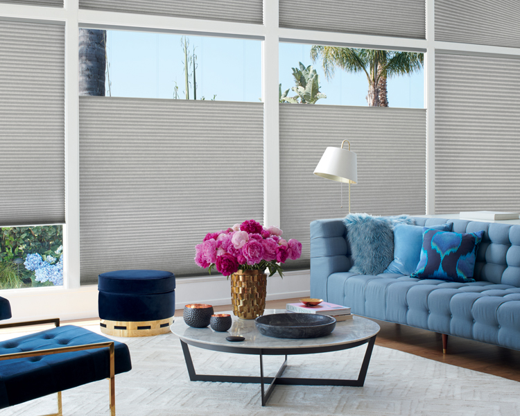 gray honeycomb shades controlled by remote in Reno NV living room