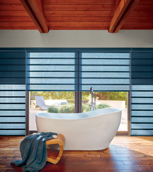 automated shades in modern master bath Incline Village NV