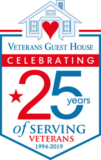 Veterans Guest House 25 year anniversary logo in Reno