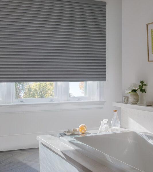 bathroom with grey room darkening hunter douglas sonnette shades Reno 89509