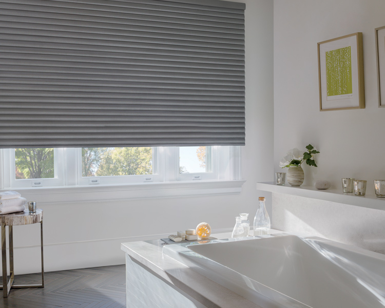 bathroom with grey room darkening hunter douglas sonnette shades Reno 89509