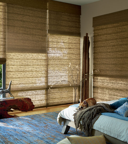 vignette modern roman shades in bedroom with dual shades for room darkening Tahoe