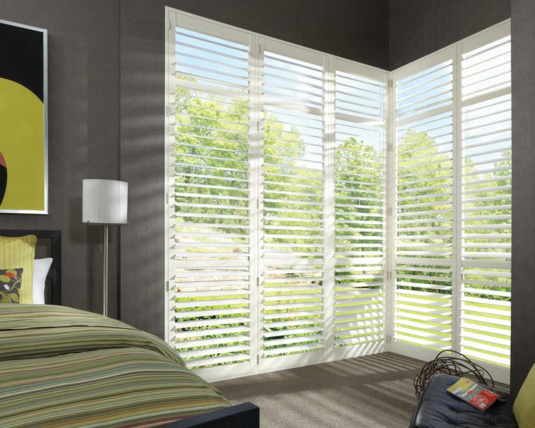 white plantation shutters for corner windows Reno NV