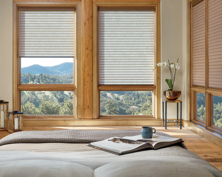 rustic master bedroom with wood detail and sonnette insulating shades Reno 89521