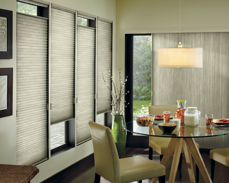 green dining room with hunter douglas top down bottom up duette honeycomb shades Reno