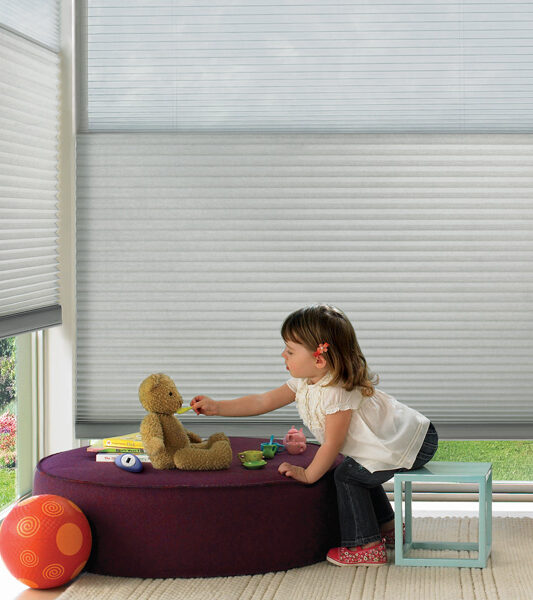playroom with child safe cordless blinds duette honeycomb shades Reno