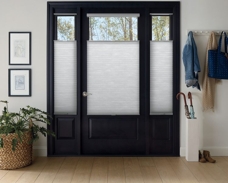 entryway with black door and Hunter Douglas top down bottom up duette honeycomb shades for privacy Reno