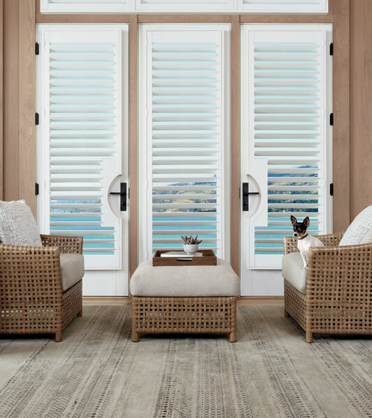 rustic living room with wooden detail and hunter douglas plantation shutters on french doors Reno