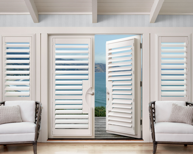 french doors covered in polysatin shutters in Reno