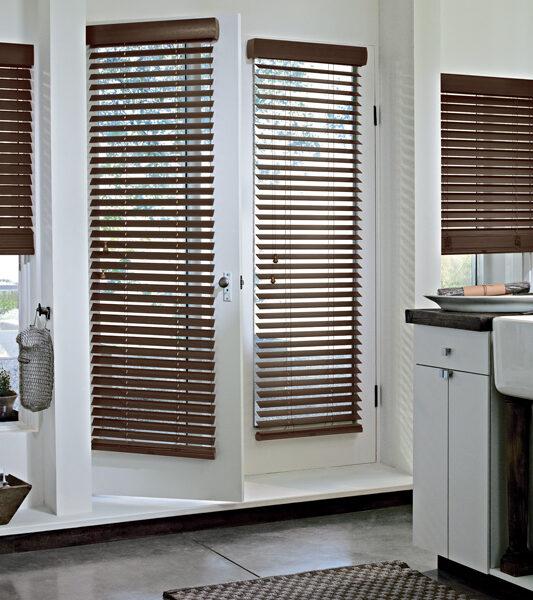 urban contemporary kitchen with dark brown glass door blinds by hunter dougla Reno
