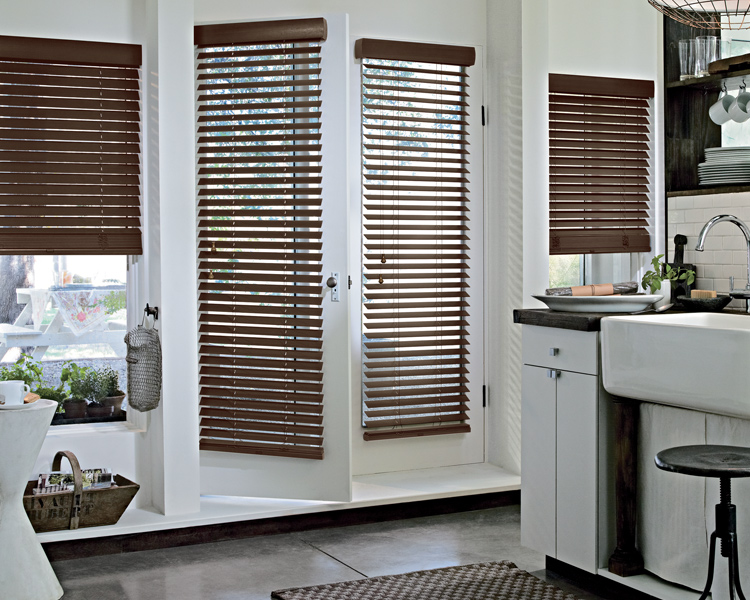 urban contemporary kitchen with dark brown glass door blinds by hunter dougla Reno