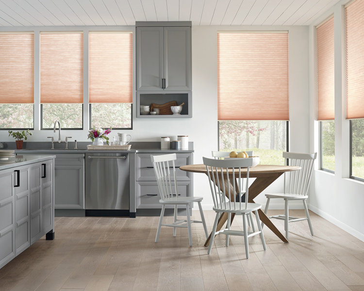 kitchen with grey counter and Hunter douglas pink duette honeycomb shades cordless blinds Reno
