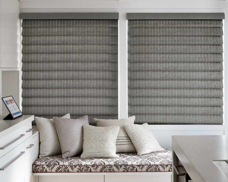 grey motorized vignette modern roman shades on large windows for insulating blinds by Hunter Douglas Reno