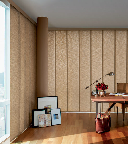 home office with tan Hunter Douglas skyline gliding window panels vertical blinds on large windows Reno