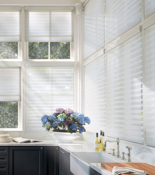 kitchen with blue flowers and Hunter douglas cordless silhouette window shades in Reno