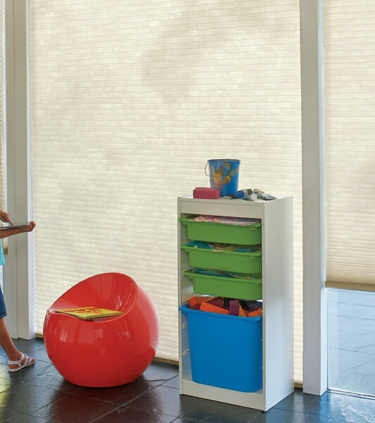 Duette honeycomb shades motorized for cordless blinds in Reno NV playroom