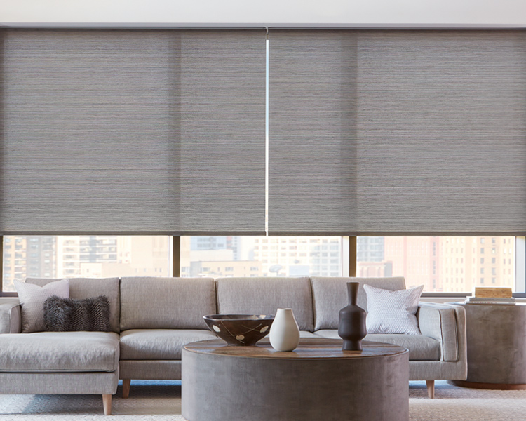 high rise living room with grey hunter douglas roller shades on floor to ceiling window Reno 89505
