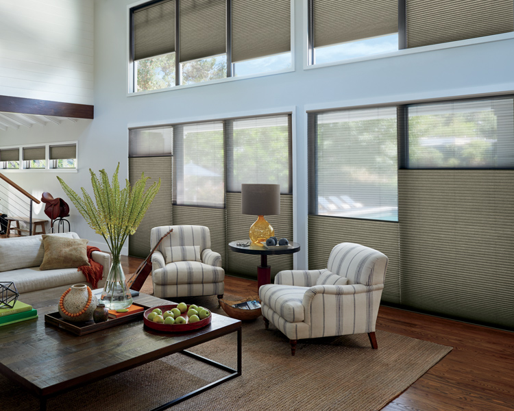 traditional farmhouse living room with duette honeycomb shades and hunter douglas top down bottom up Reno