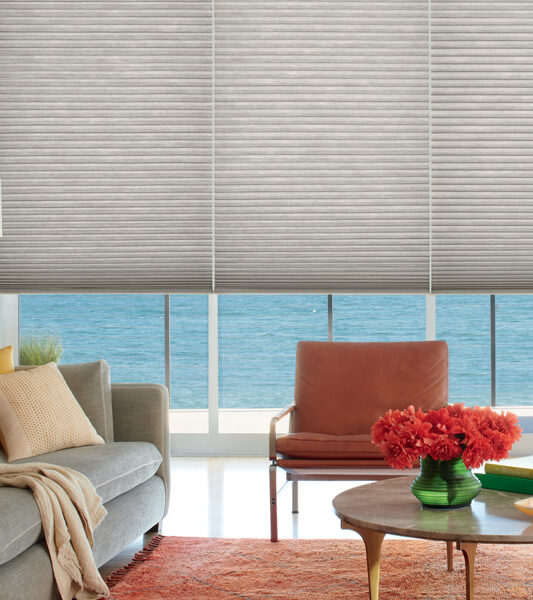 bohemian living room with orange leather seating and Hunter Douglas duette honeycomb energy efficient blinds Reno
