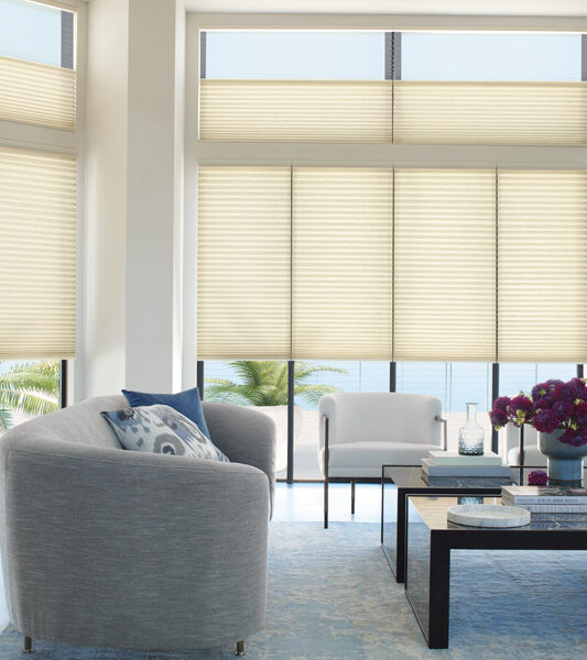 modern living room with grey round chair and large windows with duette honeycomb shades Hunter Douglas Reno