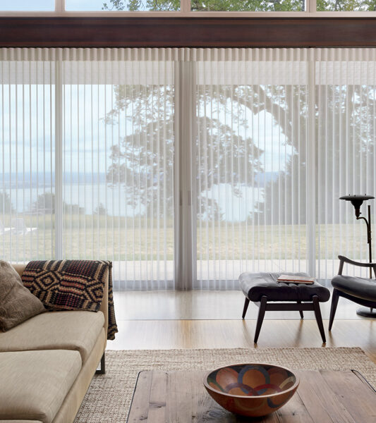 traditional living room with black contemporary accent chair and hunter douglas luminette vertical shades on sliding glass doors Reno