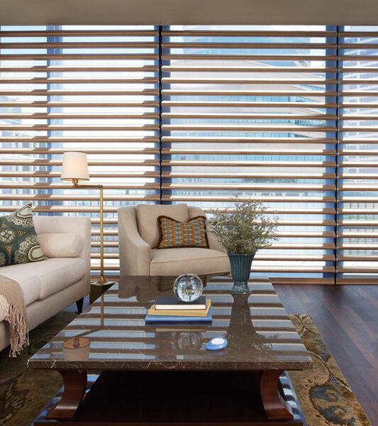 modern living room with white sofa and hunter douglas pirouette window shades Reno 89515