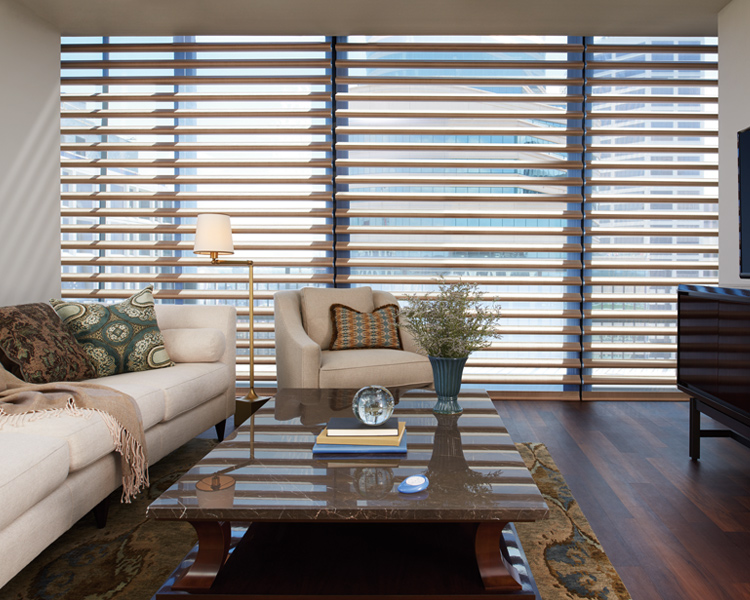 modern living room with white sofa and hunter douglas pirouette window shades Reno 89515