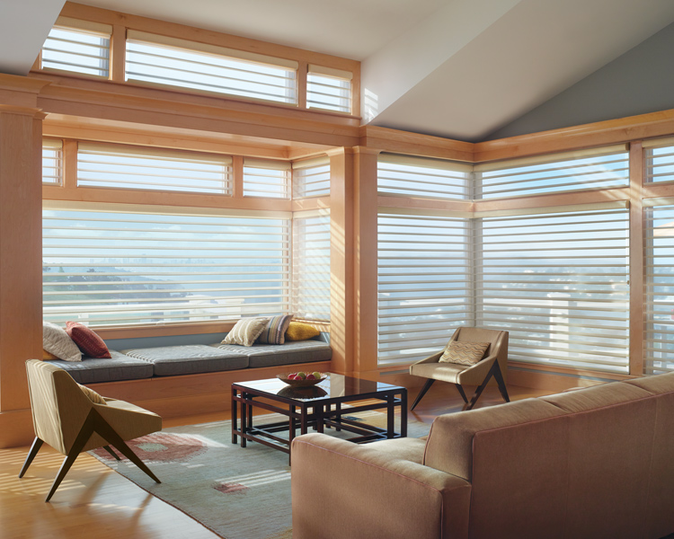 living room with hunter douglas silhouette shades on large floor to ceiling window Reno 89513