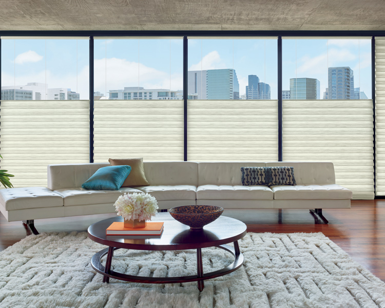 high rise living room with hunter douglas top down shades Reno 89599