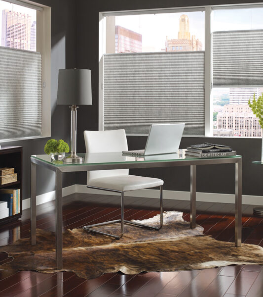 contemporary office with Hunter Douglas grey duette honeycomb top down shades Reno 89555