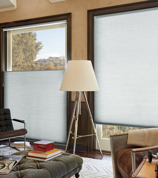 rustic home office with top down bottom duette honeycomb shades by Hunter Douglas Reno