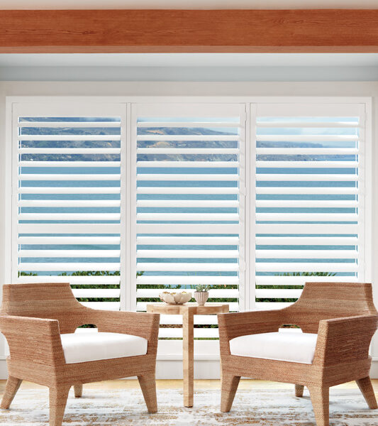 two chairs in front of large windows with white hunter douglas insulating plantation shutters Reno
