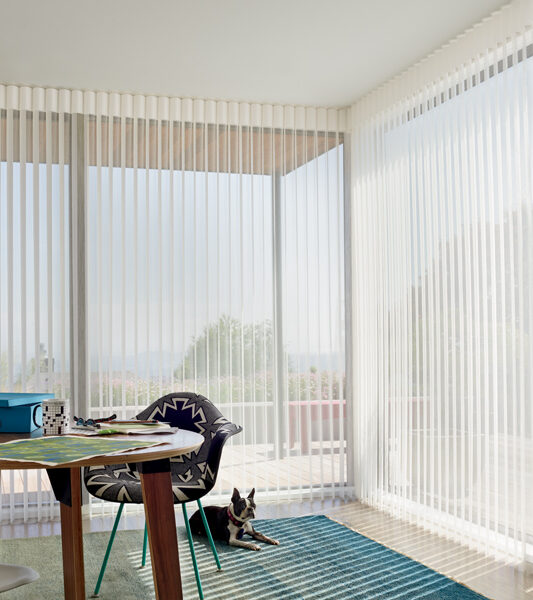 home office with blue and green rug and hunter douglas luminette vertical shades on sliding glass doors Reno 89433
