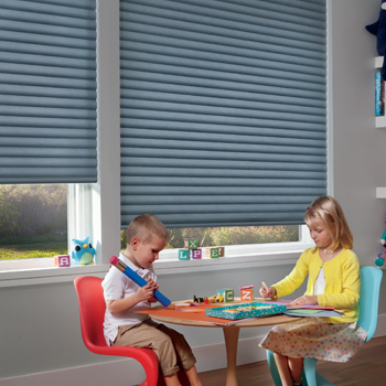 child's playroom with blue hunter douglas cordless blinds window covering solution Reno, NV