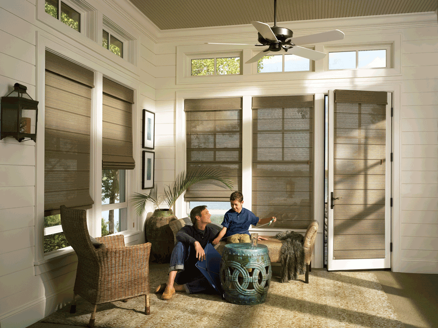 window and french door shades for your Reno area home Hunter Douglas woven textures roller shades