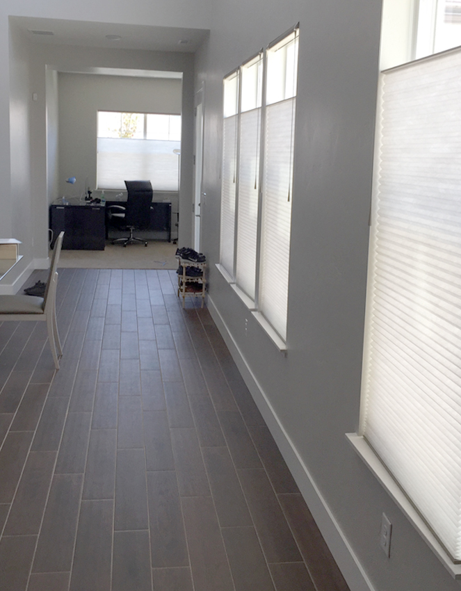 recent project of hallways with hunter douglas duette honeycomb shades Reno
