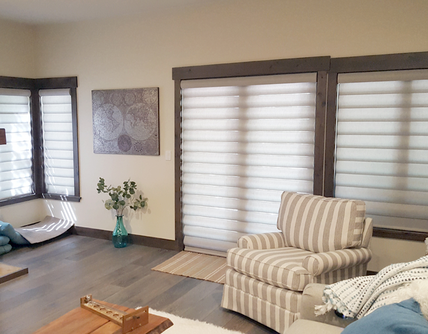living room hunter douglas pirouette shades recent work in Reno NV