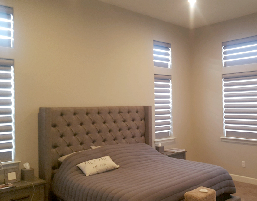 master bedroom with pirouette window shades hunter douglas recent work reno