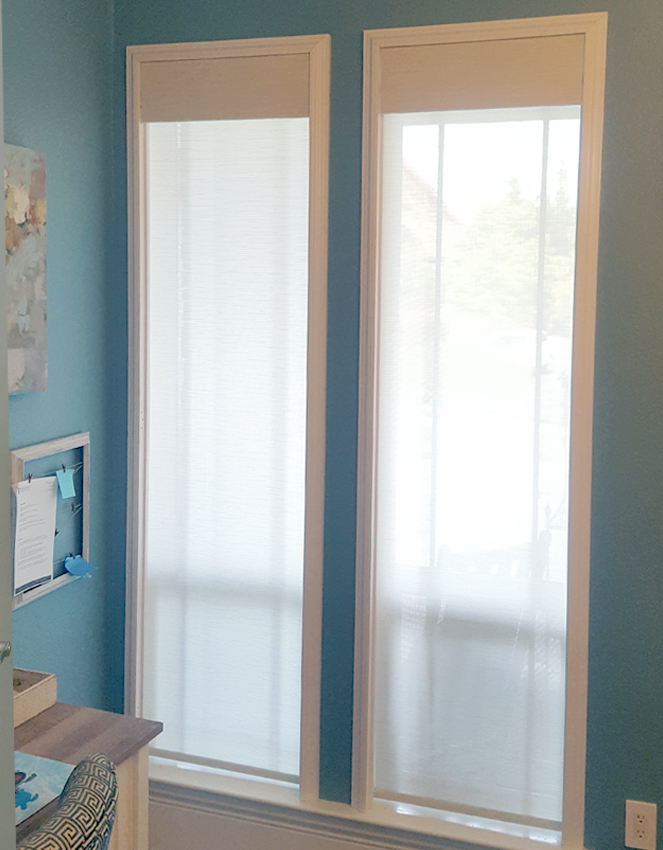 bathroom hunter douglas roller shades on specialty shaped windows Reno