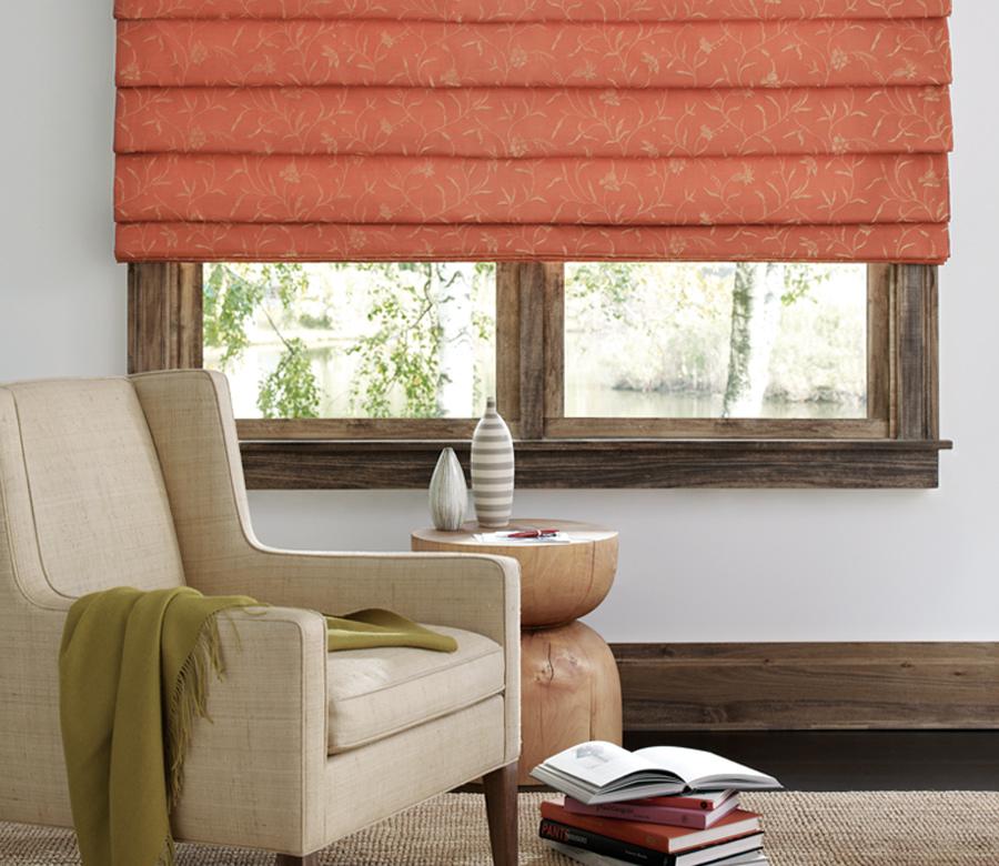 custom fabric roman shades in Reno living room