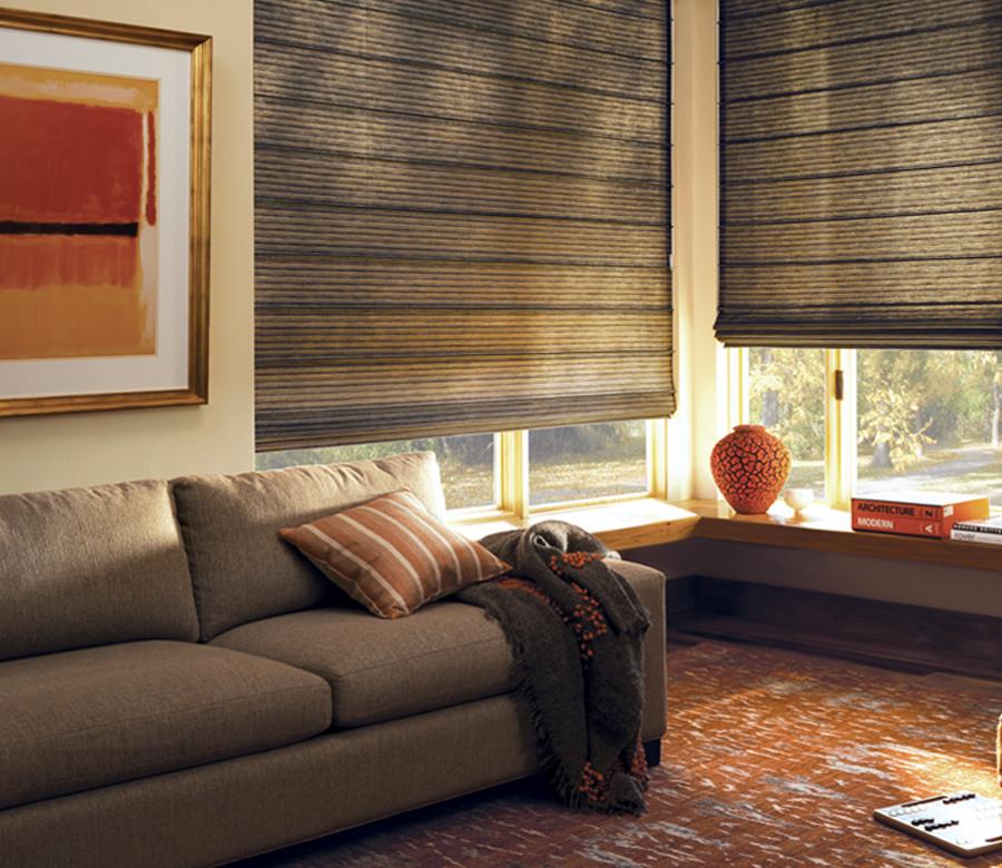 dark brown custom roman shades in Tahoe living room