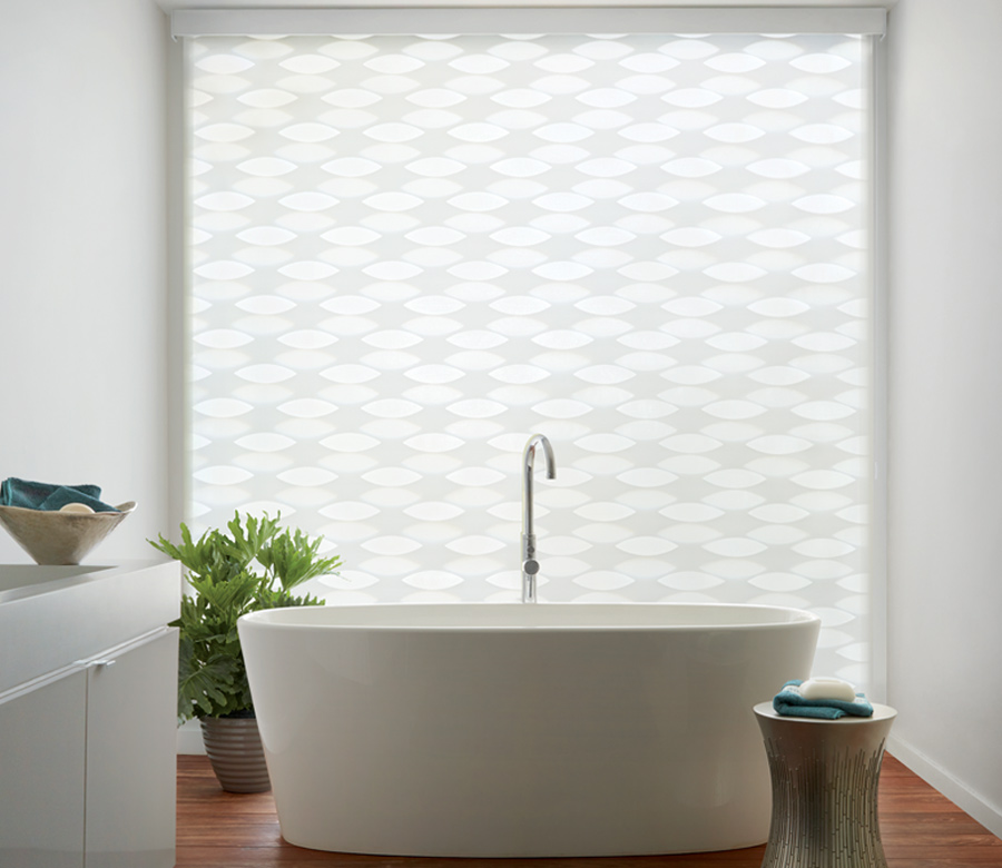 white banded shades in bathroom with geometric sheer shapes Incline Village NV