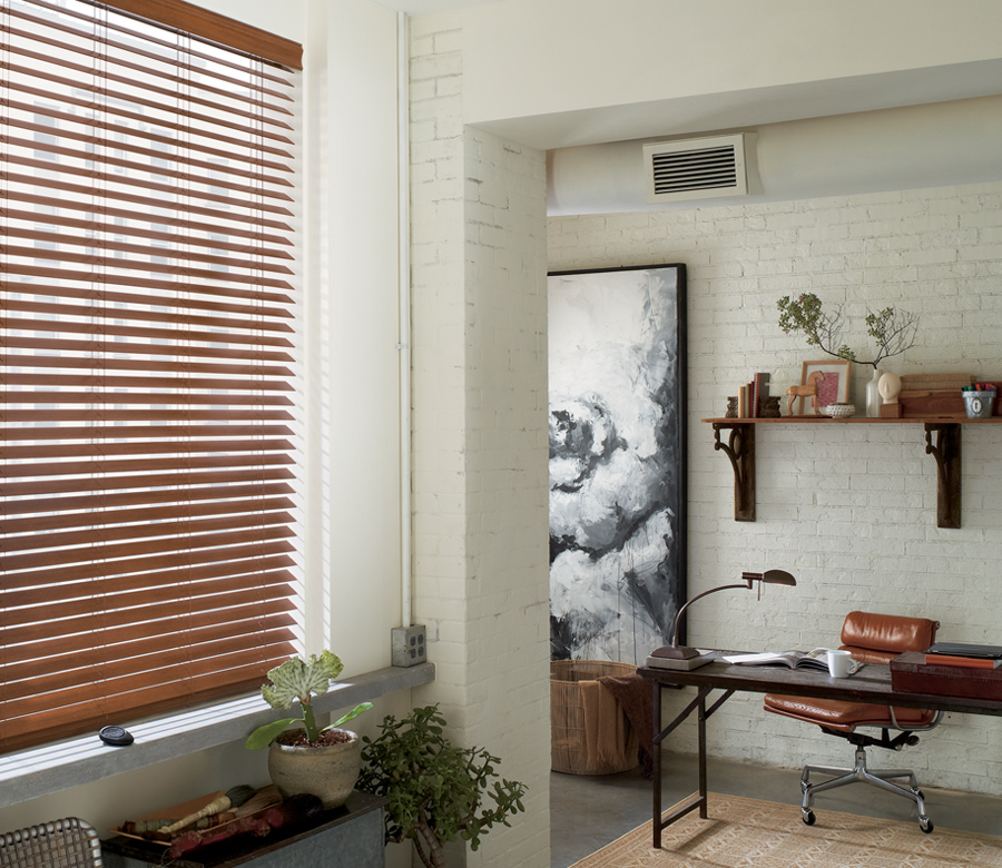 home office with caramel faux wood blinds Reno NV