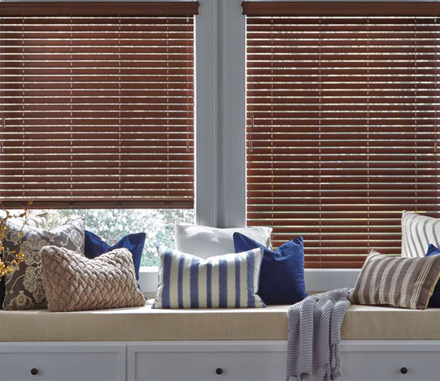 faux wood blinds with window seat Reno NV