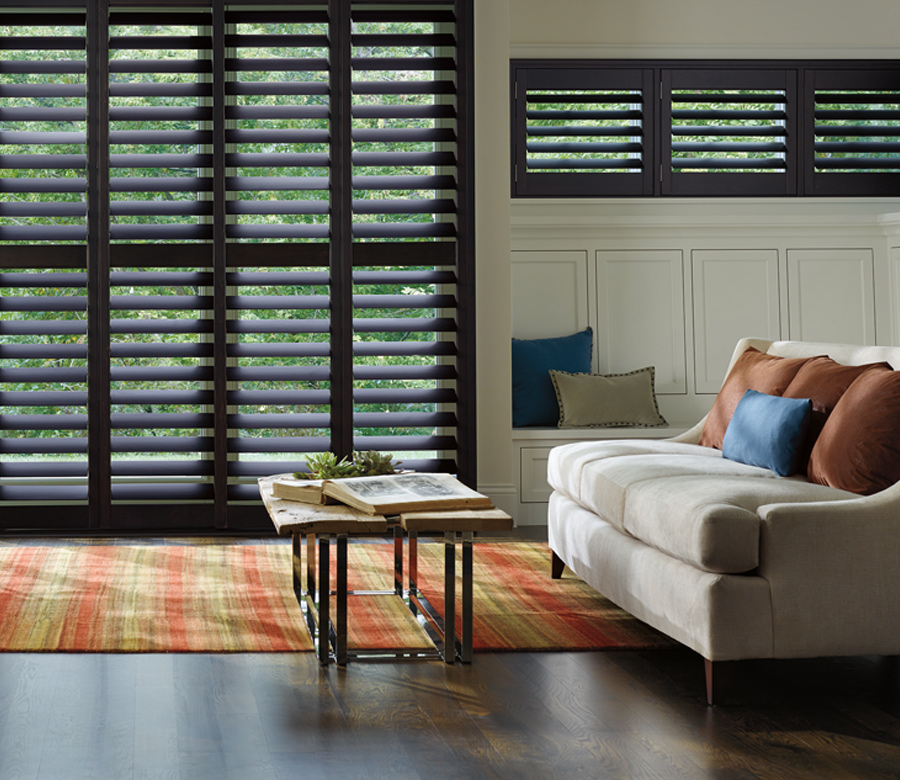 dark stained plantation shutters in Tahoe living room