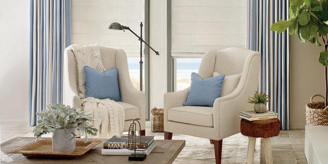 Reno, NV living room with Hunter Douglas Design Studio Window Treatments.