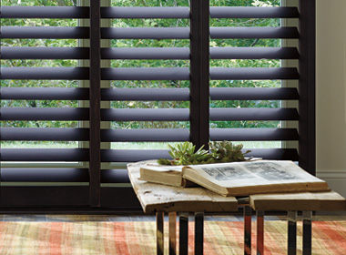 Hunter Douglas black plantation shutters Reno NV