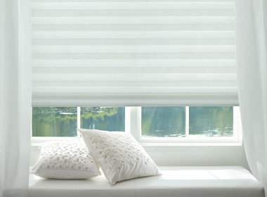 hunter douglas white fabric roman shades Reno NV