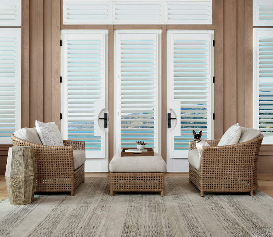 white plantation shutters on french doors Incline Village NV
